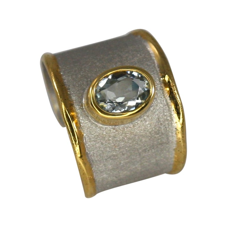 Yianni Creations 1.10 Carat Aquamarine Fine Silver and 24 Karat Gold Ring