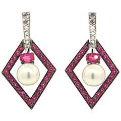 John Hardy Cinta Pearl Pink Spinel Diamond Gold Drop Earrings