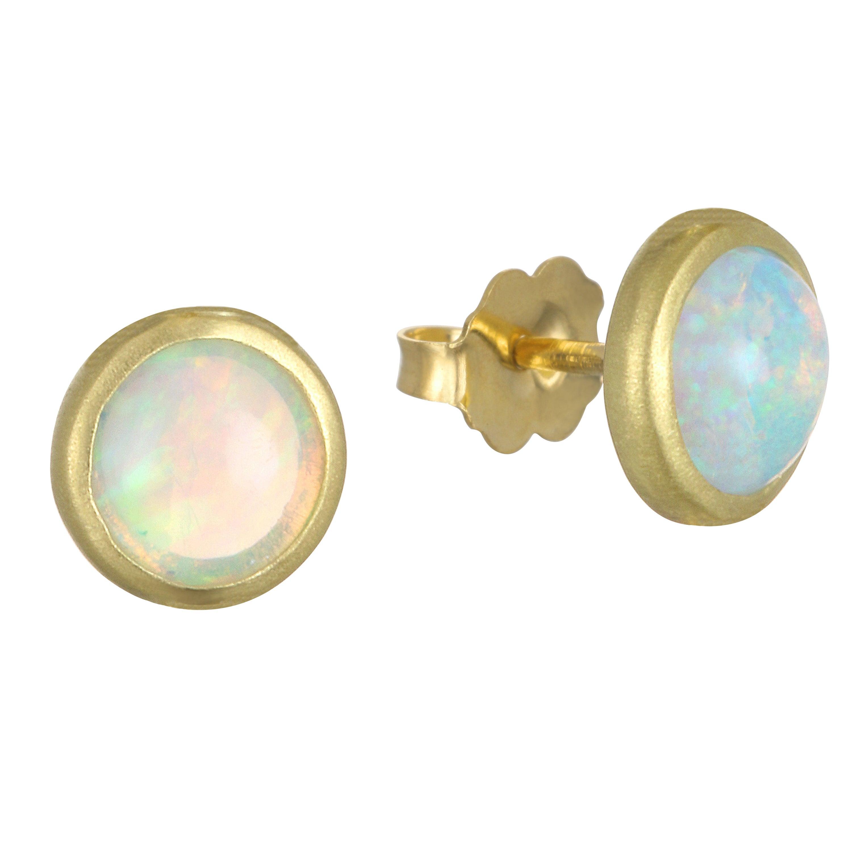 Faye Kim 18 Karat Gold Australian Opal Stud Earrings