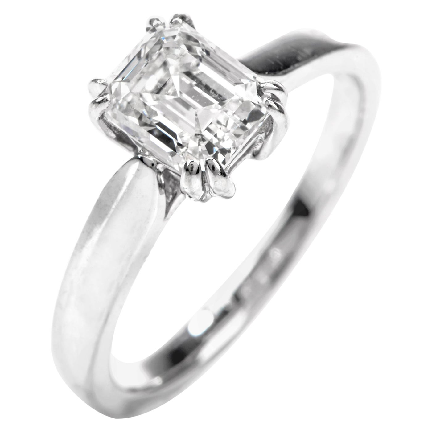 GIA Emerald-Cut Diamond I-VS1 Solitaire Engagement Gold Ring