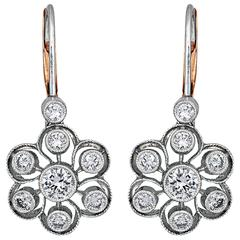 2.00 Carat Diamonds Floral Drop Earrings