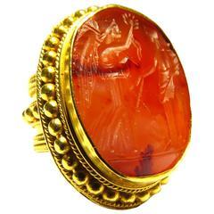 Antique Carnelian Agate Seal Etruscan Gold Angel Motif 21K Gold Ring