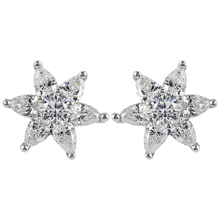 1 85 Carat Star Shaped Diamond Gold Earrings For