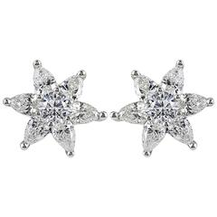 1.85 Carat Star Shaped Diamond Gold Earrings