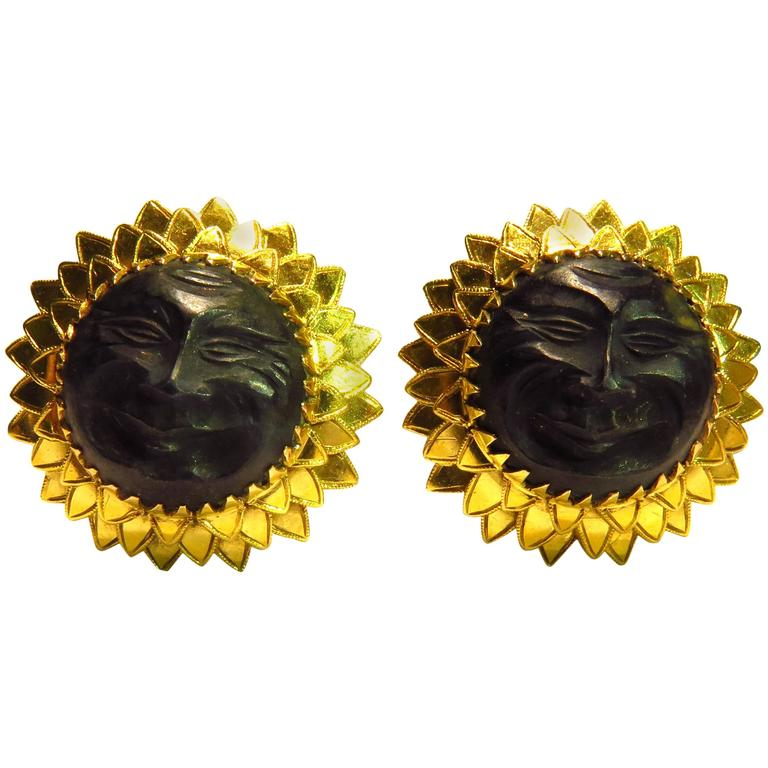 French Amazingly Sunny and Happy Gold Sun Face Earrings