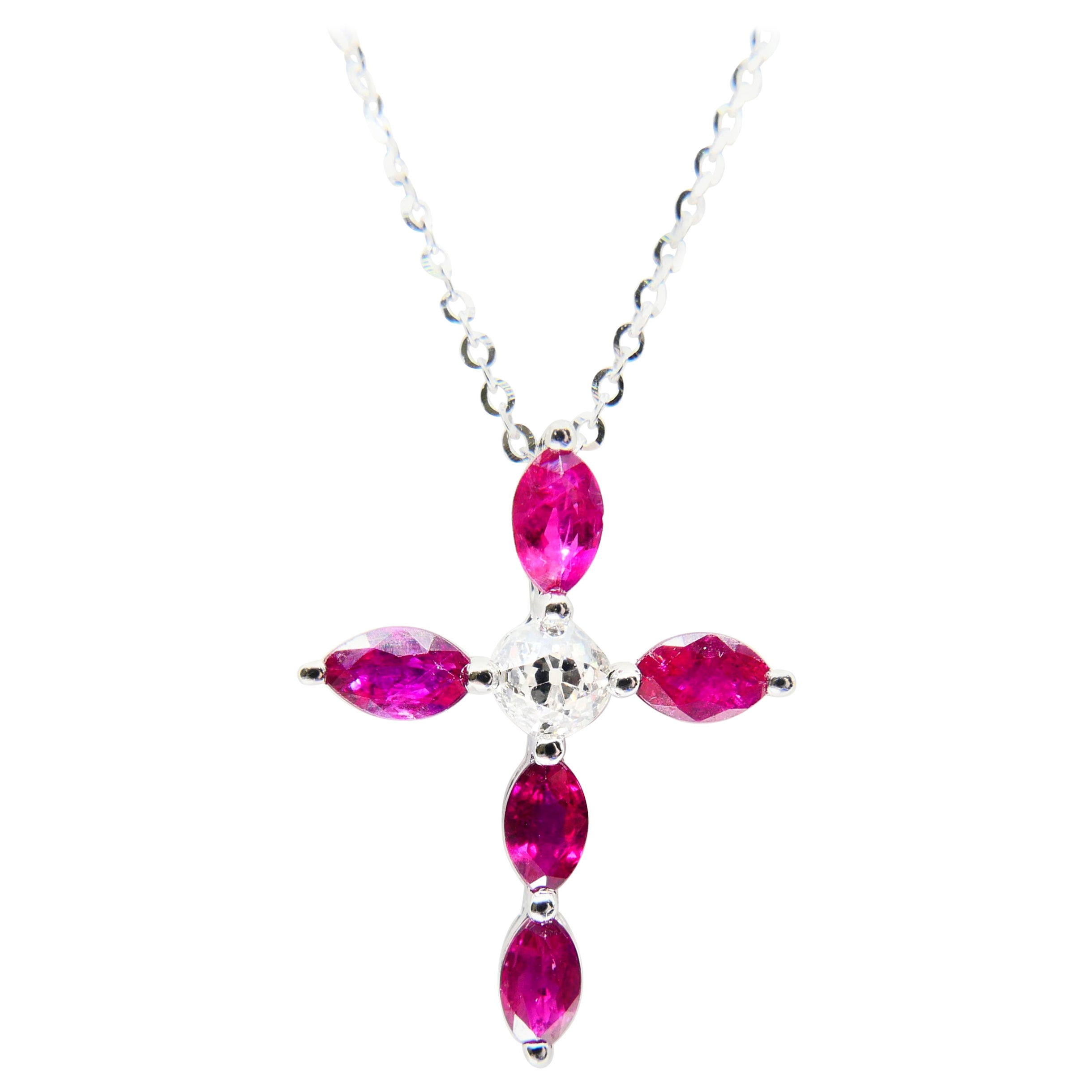 18 Karat Old Mine Cut Diamond and Burma Rubies Cross Pendant Drop Necklace