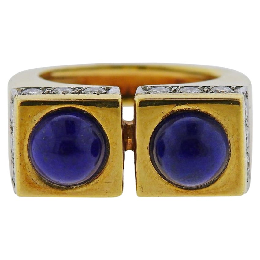 Tiffany & Co. 1970s Gold Lapis Diamond Ring