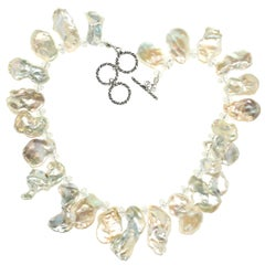 White Freshwater Pearl Choker Necklace with Crystal Accents
