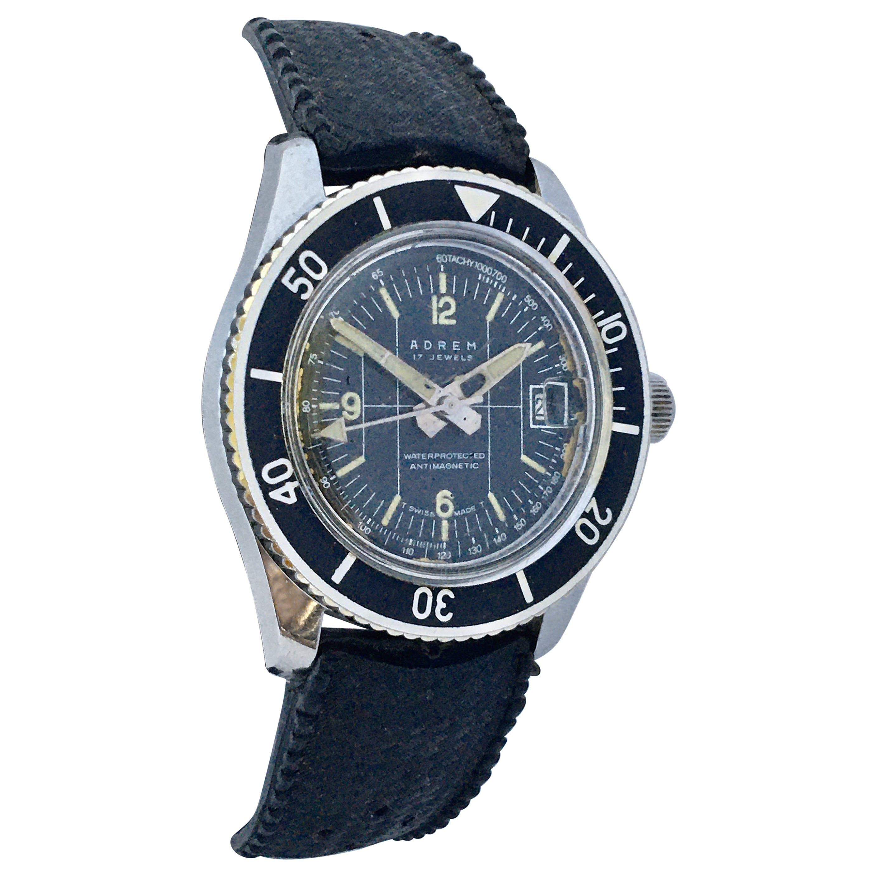 Vintage 1970s Diver's Mechanical Swiss Watch
