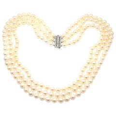 Tiffany & Co. Triple Strand Cultured Pearl Diamond Platinum Necklace