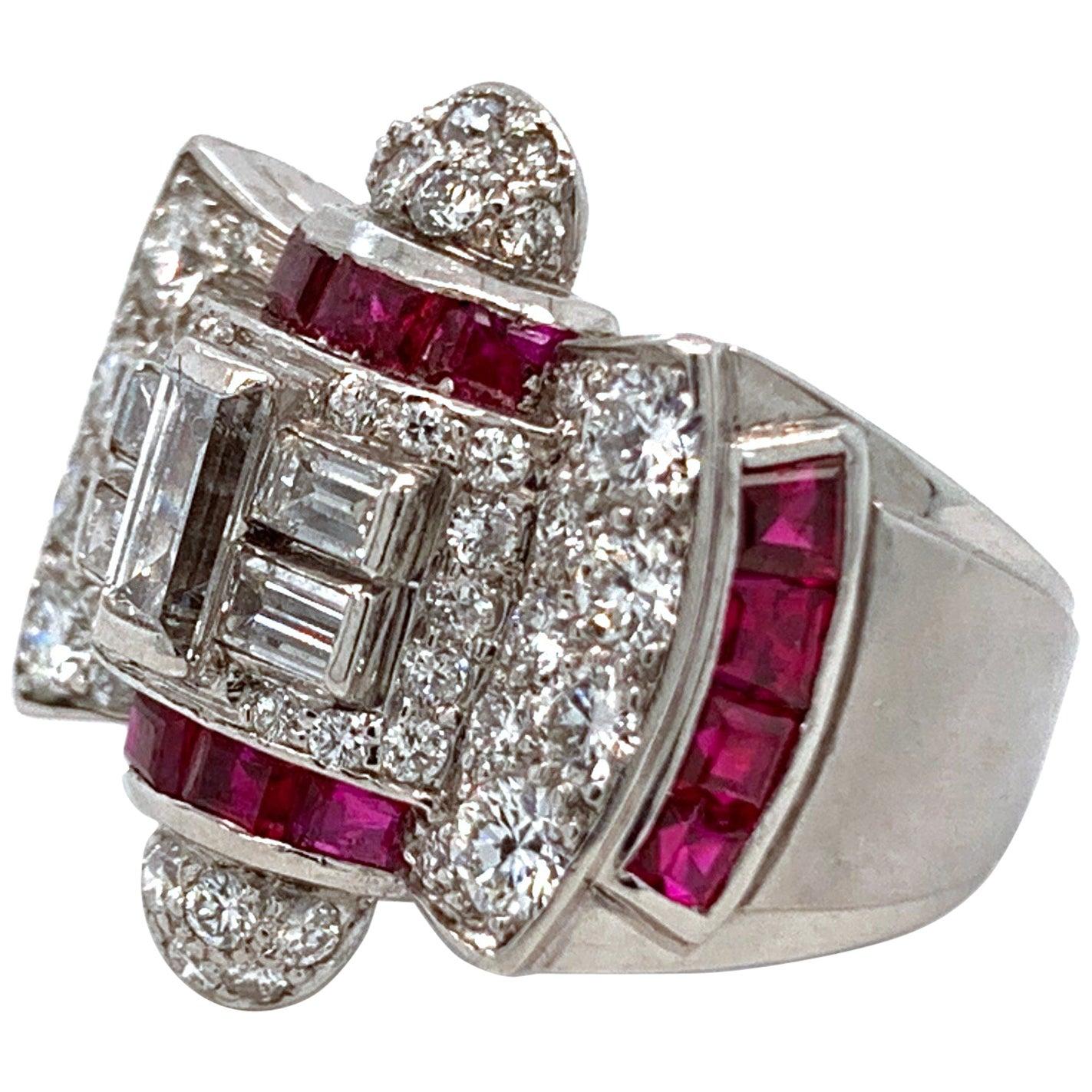 1940s Ruby and Diamond Platinum Ring