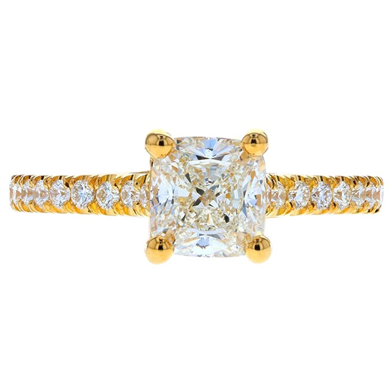 Cushion Cut Diamond Engagement Ring with Diamond Pave in Yellow Gold