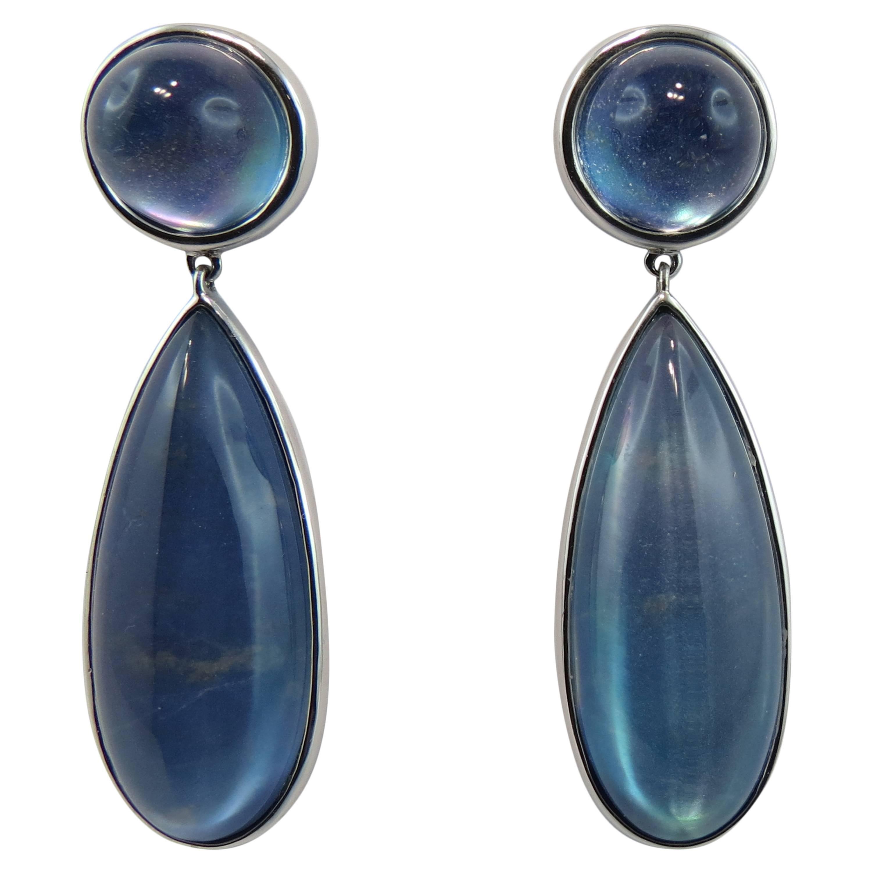 Jona Lapis Lazuli Quartz 18 Karat White Gold Drop Earrings