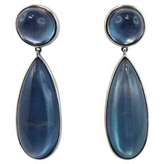 Jona Lapis Lazuli Quartz 18 Karat White Gold Drop Earrings