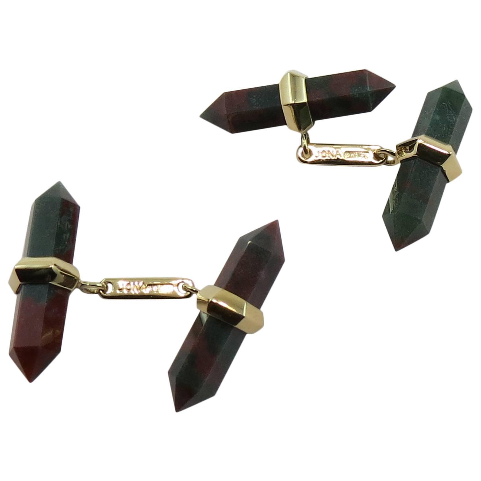 Jona Jasper 18 Karat Yellow Gold Prism Bar Cufflinks