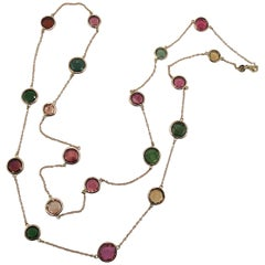 Jona Flat Cut Multi-Color Tourmaline 18 Karat yellow Gold Sautoir Long Necklace