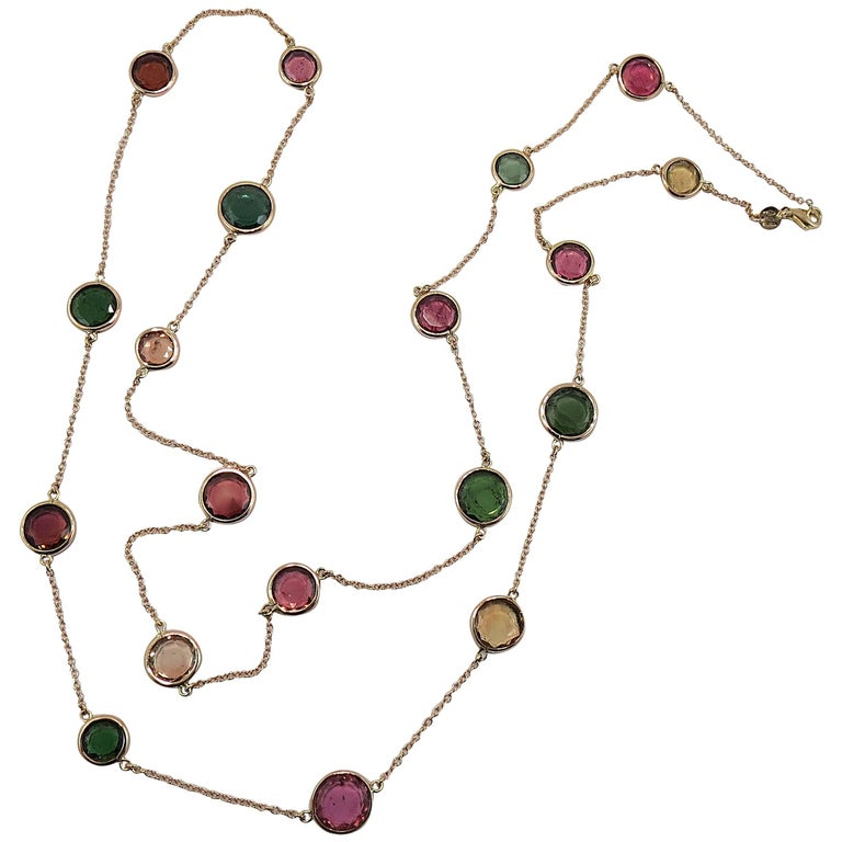 Jona Flat Cut Multi-Color Tourmaline 18k yellow Gold Sautoir Long Necklace