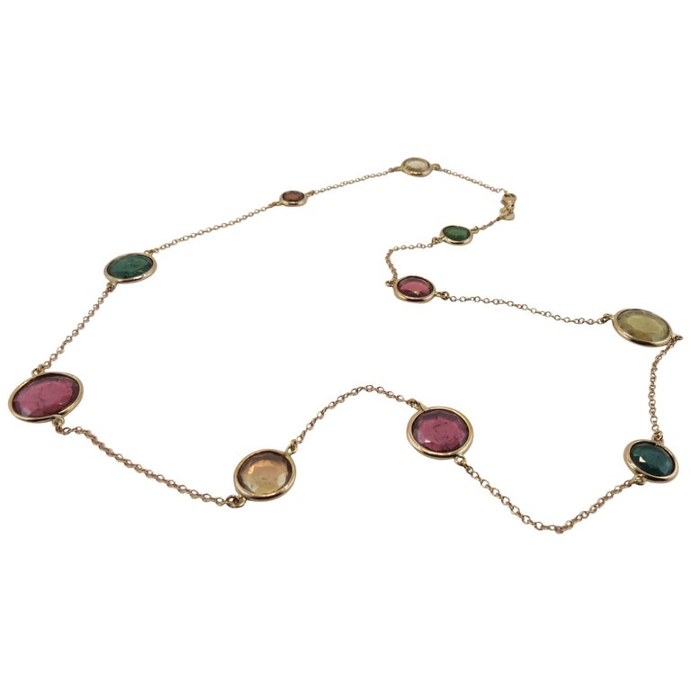 Jona Multi-Color Tourmaline 18k Pink Gold Necklace