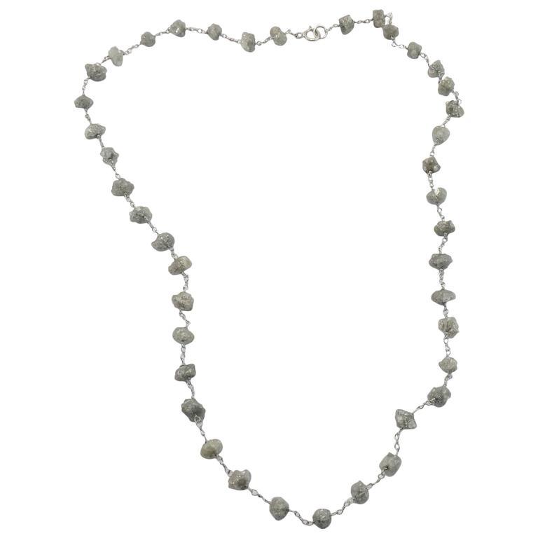 Jona Rough Ice Grey Diamond 18k White Gold Necklace