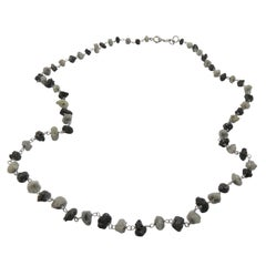 Rough Black and Grey Diamond Necklace in 18 Karat White Gold