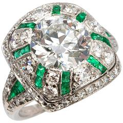 Tiffany & Co. Old European Cut Diamond  Emerald Ring