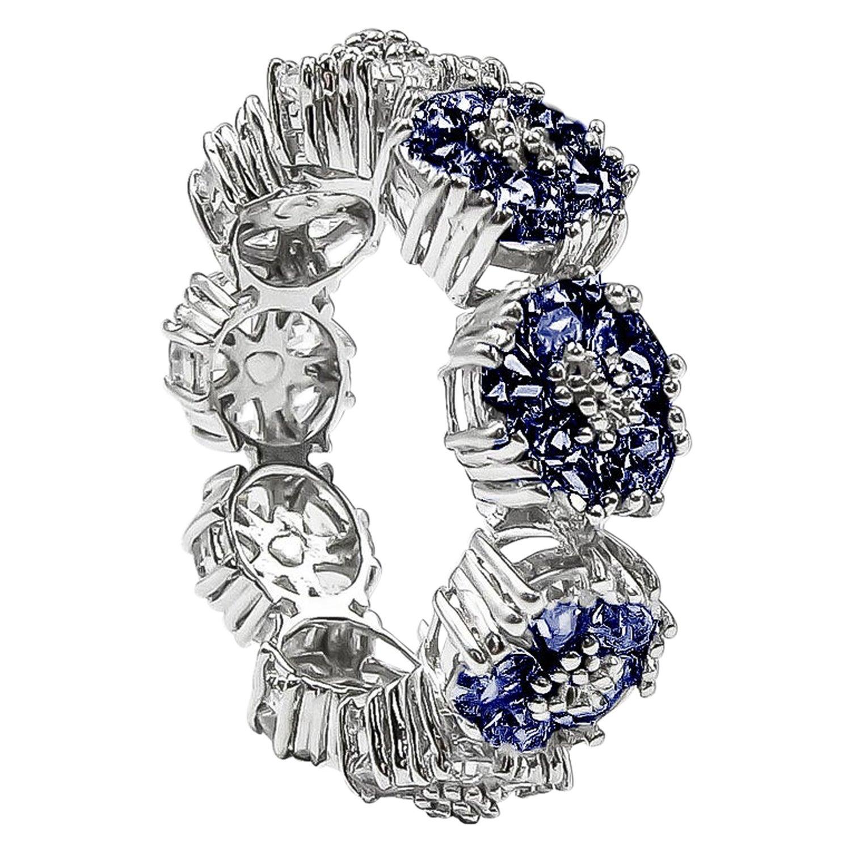 Dark Blue Topaz Blossom Gemstone Trinity Ring