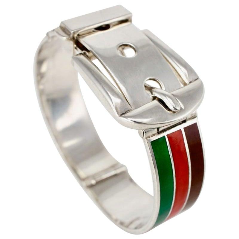 Vintage Gucci Sterling Silver Enamel Belt Buckle Bracelet, 1960s