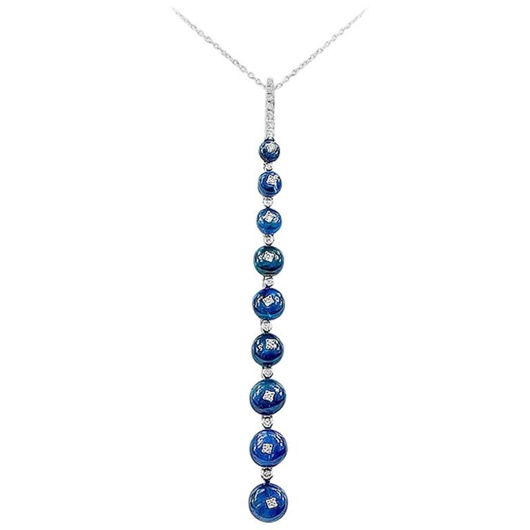 Impressive Rare Blue Sapphire Diamond White Gold Necklace