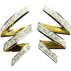 Stunning Zig Zag Diamond Gold Earrings