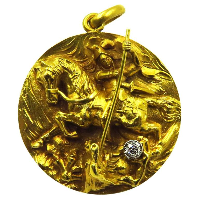 High relief diamond gold saint george and the dragon locket charm high relief diamond gold saint george and the dragon locket charm pendant for sale aloadofball Image collections