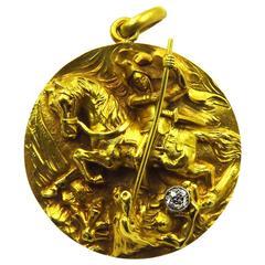 High Relief Diamond Gold Saint George and The Dragon Locket Charm Pendant