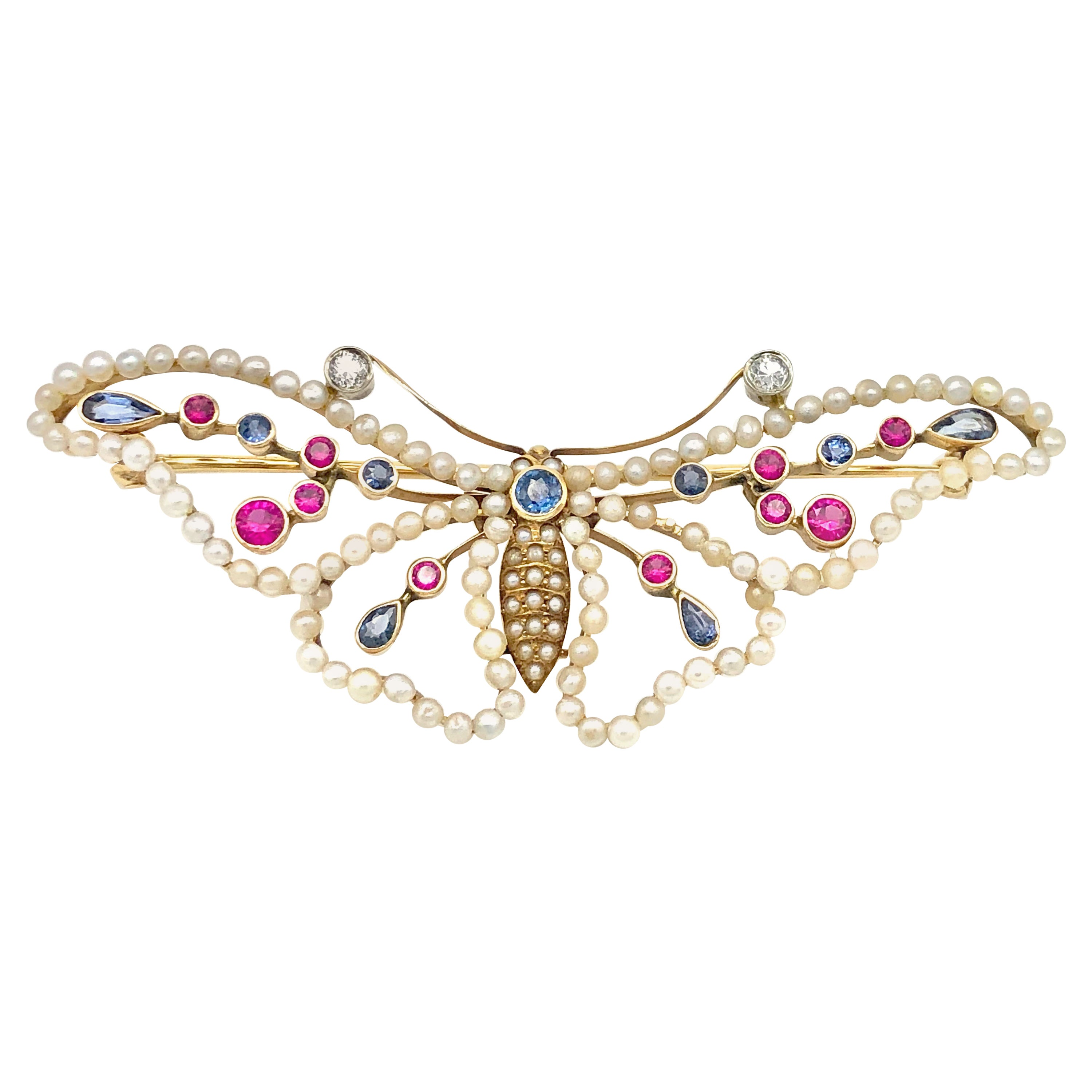 Antique Belle Époque Butterfly Psyche Soul Pearls Sapphires Rubies Gold Brooch