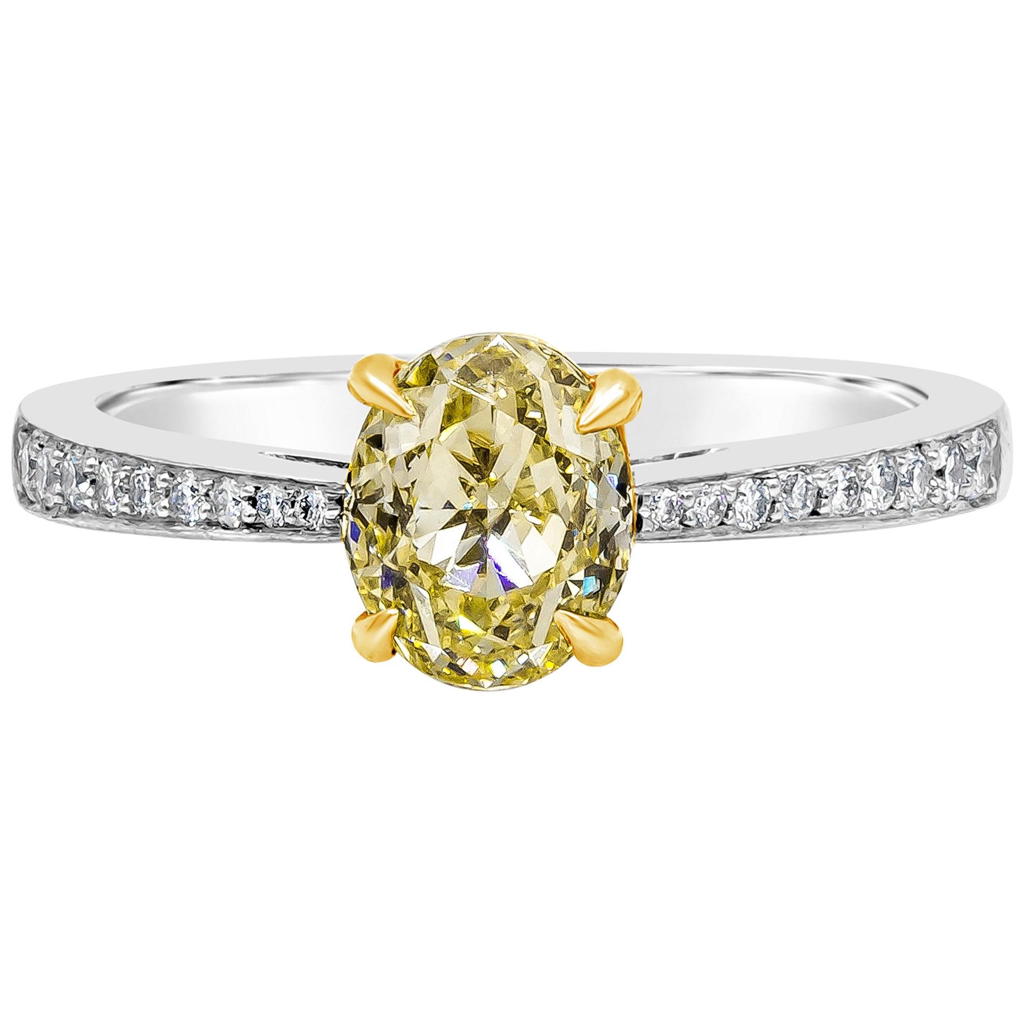 Roman Malakov GIA Certified Oval Cut Yellow Diamond Engagement Ring