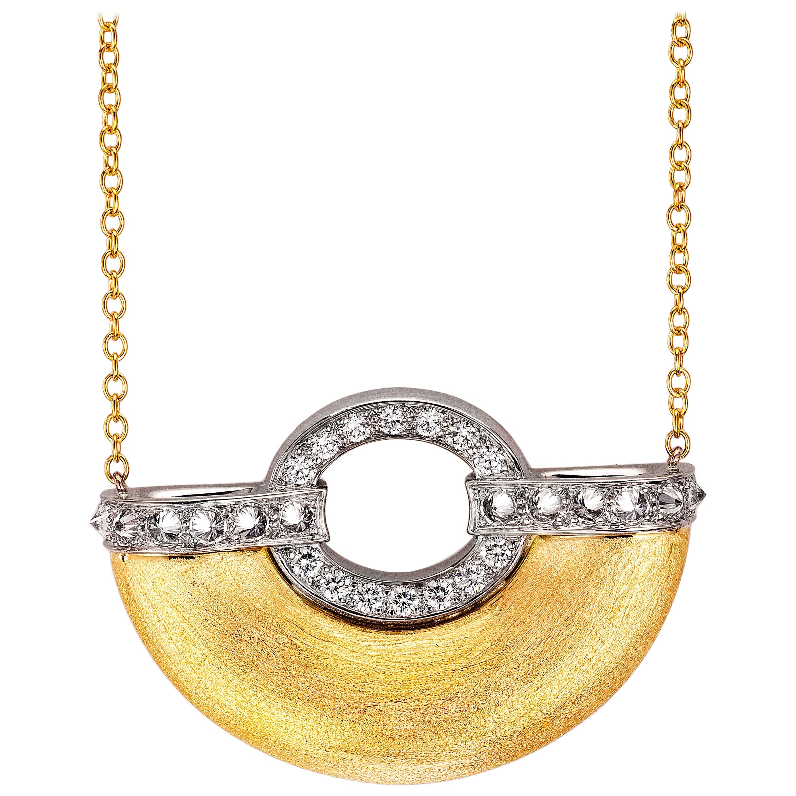 AnaKatarina 18k Yellow Gold, Palladium, Diamonds 'Girl From Ipanema' Necklace