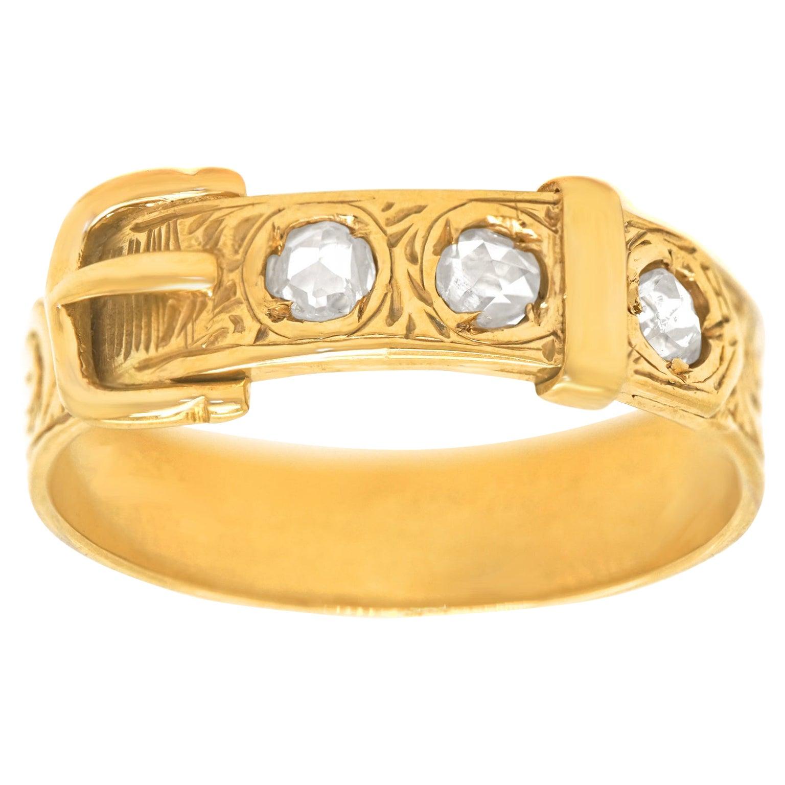 Diamond Set Gold Buckle Ring