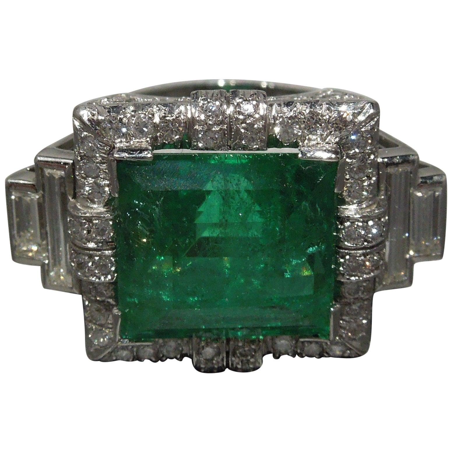 Art Deco Defined 12.75 Carat GIA Colombian Emerald Platinum Ring