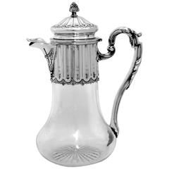 Antique French Sterling Silver Crystal Serving Decanter, Pitcher Neoclassical
