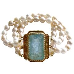Multicolor Pearl Gold Cuff Bracelet with Aquamarine Clasp