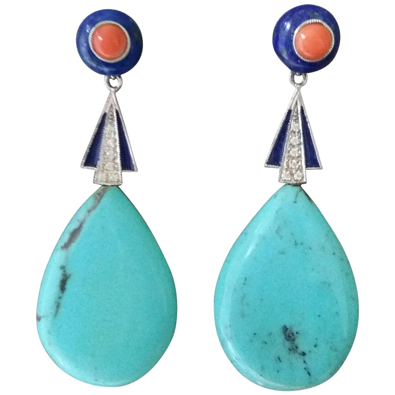 Art Deco Style Turquoise Lapis Lazuli Coral Gold Diamonds Blue Enamel Earrings