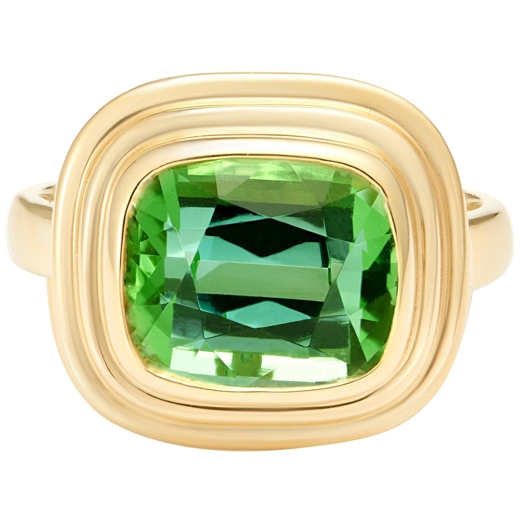 Vivid Green 5.70 Carat Tourmaline 18 Karat Yellow Gold Cocktail Ring