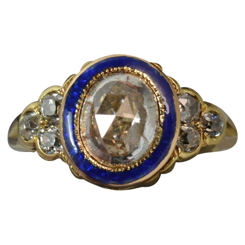 Georgian 18 Carat Gold 1 Carat Diamond Enamel Cluster Ring