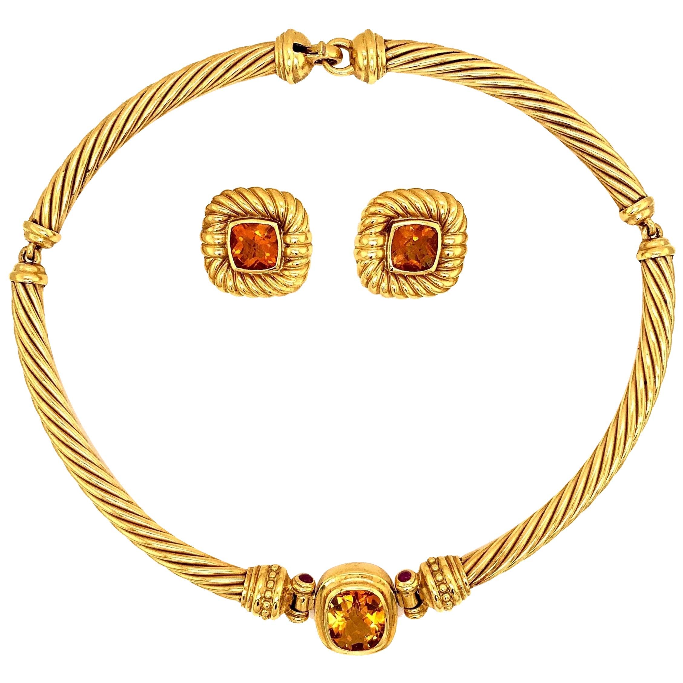 David Yurman 18 Karat Yellow Gold Citrine Choker Necklace and Earrings