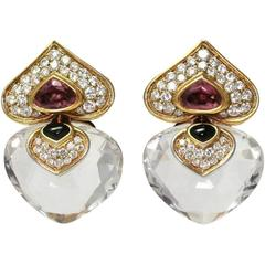 Marina B. Pivomab Tourmaline Rock Crystal Diamond Yellow Gold Earrings 1982