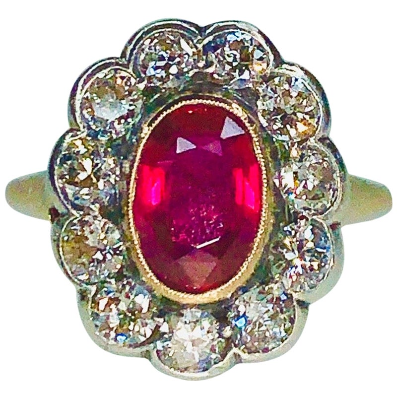 Gemolithos Victorian Natural Ruby and Diamond Ring, 1890s
