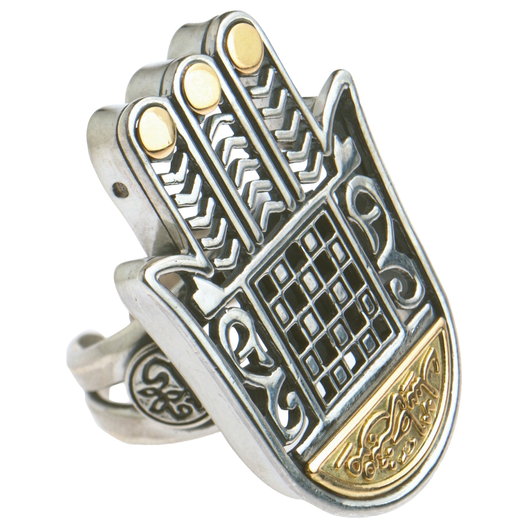 18 Karat Gold and Sterling Silver Statement Hand of Fatima Ring