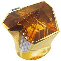 Atelier Munsteiner Citrine diamond gold Ring