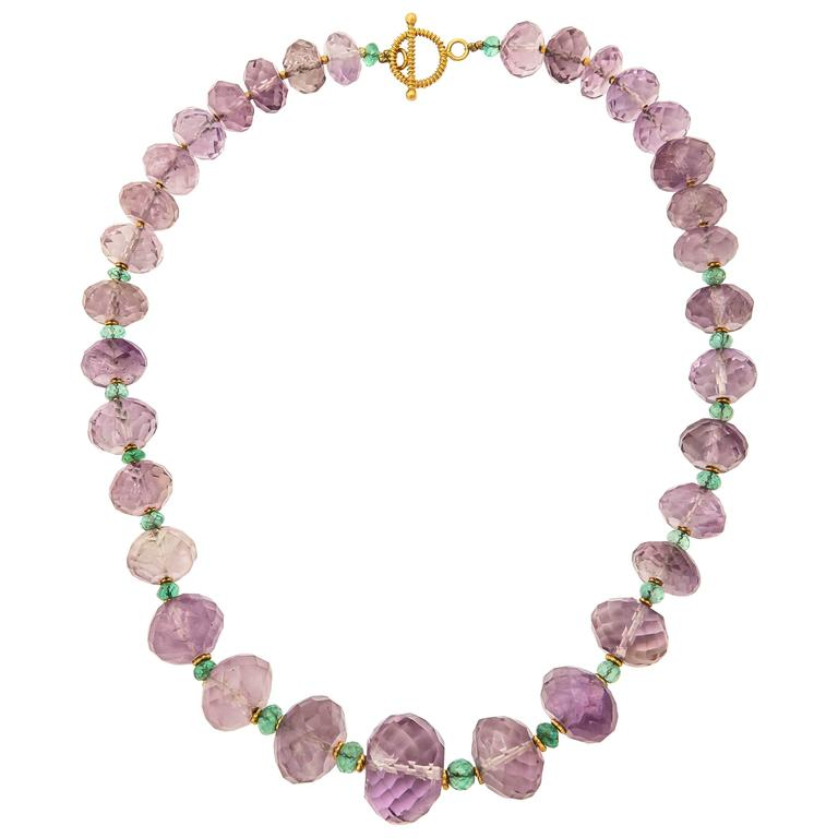 Amethyst Emerald Gold Bead Necklace