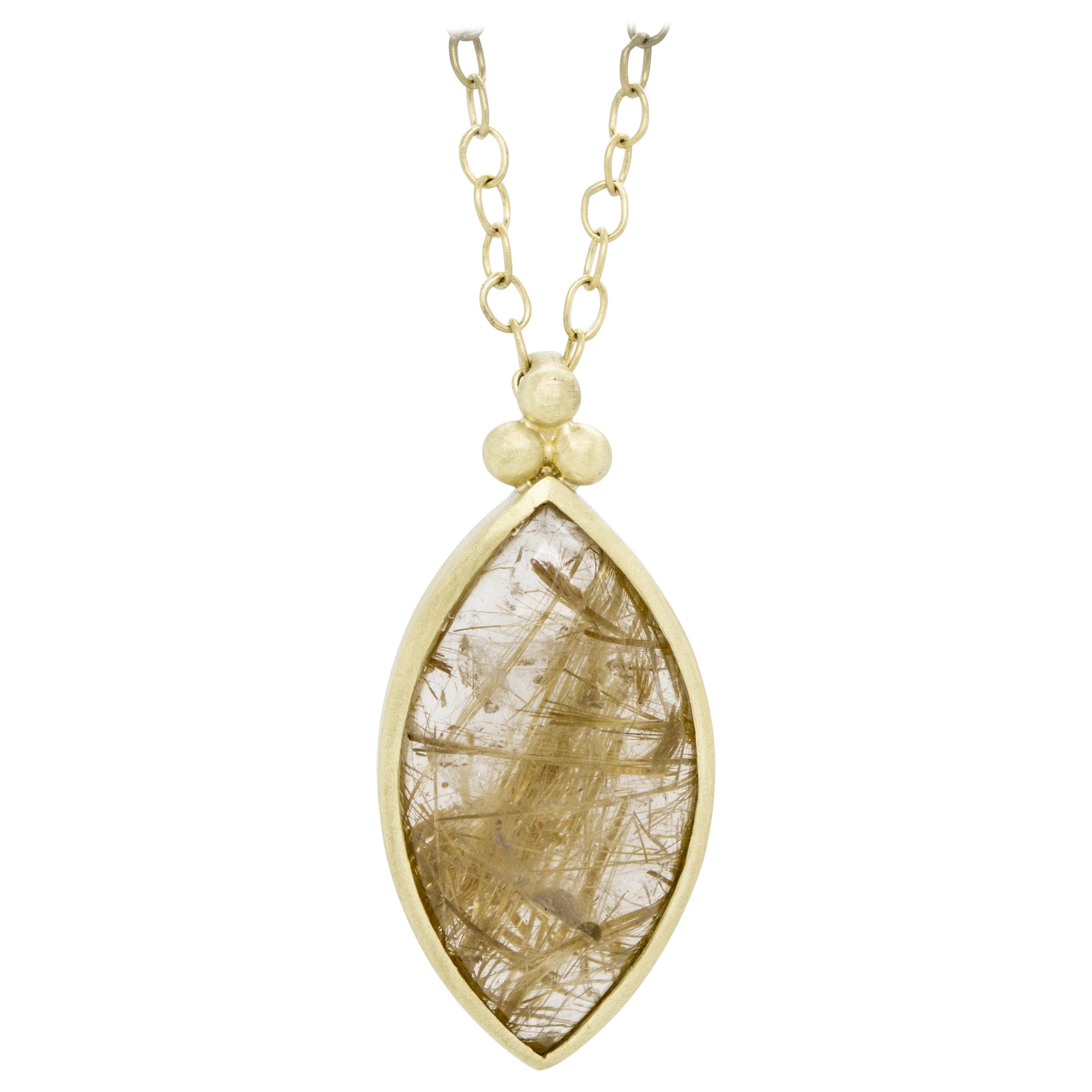 Faye Kim 18 Karat Gold Rutilated Quartz Pendant Necklace