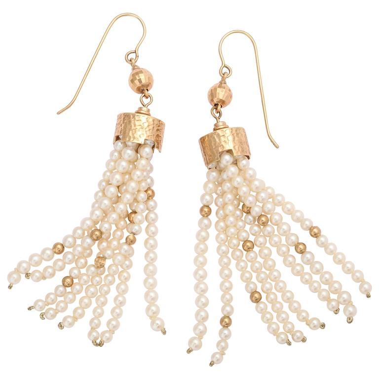 Striking Pearl and Gold Tassel Earrings