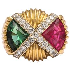 Impressive Pink and Green Tourmaline Diamond Gold Ring